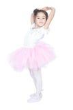 Mooi weinig danser, ballerina in roze kleding Stock Foto