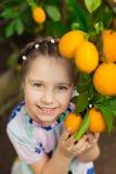 Mooi weinig gelukkig meisje die in kleurrijke kleding in citroentuin Lemonarium verse rijpe citroenen in haar mand plukken Stock Afbeeldingen