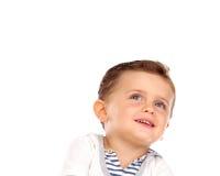 Mooi weinig kind met een mooie glimlach die omhoog eruit zien Royalty-vrije Stock Foto