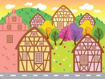 Mooi Weinig Stads Vectorillustratie Stock Foto's