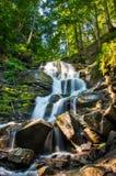 Mooi weinig waterval met verscheidene cascades over grote ston Stock Fotografie