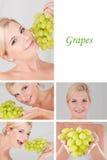 Mooi wijfje met bos of druivencollage Stock Fotografie