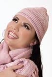Mooi wijfje op de wintermanier Stock Foto's
