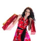 Mooi winkelend meisje met zakken. Royalty-vrije Stock Afbeeldingen