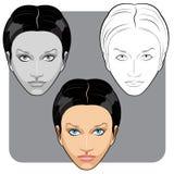 Mooi wit vrouwengezicht Stock Afbeeldingen