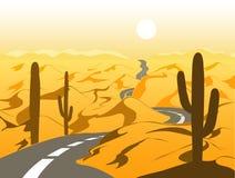 Mooi woestijnlandschap met asfaltweg en cactus De vectorillustratie van het beeldverhaal Stock Afbeeldingen