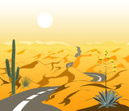 Mooi woestijnlandschap met asfaltweg en cactus De vectorillustratie van het beeldverhaal Royalty-vrije Stock Foto