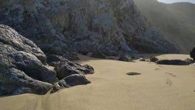 Mooi zandig strand met rotsen op Atlantische kust bij zonnige dag, Portugal stock video