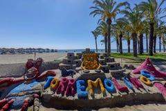 Mooi zandkasteel op een Spaans strand Stock Afbeeldingen