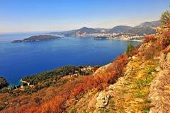 Mooi zeegezicht van Montenegro riviera royalty-vrije stock afbeeldingen