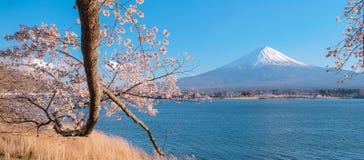 Mooi zet Fuji met sneeuw en blauwe hemel op bij Meerkawaguchiko wordt afgedekt, Japan dat stock afbeelding