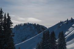 Mooi zonnig de winterlandschap, Oberstdorf, Duitsland Stock Afbeelding
