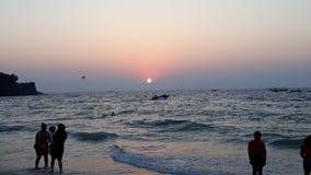 Mooi zonsondergang sinquerim strand Stock Afbeelding