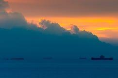 Mooi zonsondergangzeegezicht Stock Afbeelding