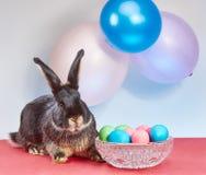 Mooi zwart konijn dichtbij paaseieren in een vaas Royalty-vrije Stock Afbeelding