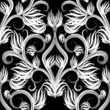 Mooi zwart-wit bloemen vector naadloos patroon stock illustratie