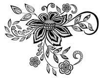 Mooi zwart-wit bloemenpatroonontwerp Stock Foto's