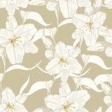 Mooi zwart-wit, lichtgroen overzichts naadloos patroon met lelies en bladeren vector illustratie