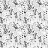Mooi zwart-wit naadloos patroon in alstroemeria met contouren Royalty-vrije Stock Afbeeldingen