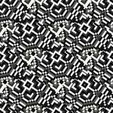 Mooi zwart-wit pixel geometrisch abstract naadloos patroon Stock Afbeeldingen