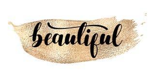 Mooi - zwarte hand geschreven het van letters voorzien met gouden vlek vector illustratie