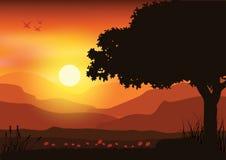 Mooie aard bij zonsondergang, Vectorillustraties Stock Afbeelding