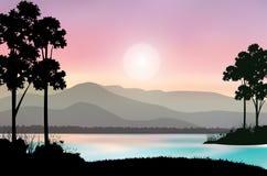Mooie aard bij zonsondergang, Vectorillustraties Royalty-vrije Stock Afbeelding
