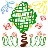 Mooie aard, een tot bloei komende boom met vruchten, bloemen en vlieg vector illustratie