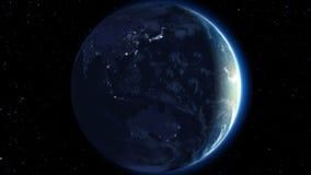 Mooie Aardeomwenteling 360 graden Dag en Nacht Video Klaar voor Uw Zon Van een lus voorzien animatie HD 1080 stock illustratie