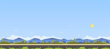 Mooie aardscène met landweg en heuvel voor voorgrond Schoon de lente verbazend landschap Vector illustratie Weg met natur vector illustratie