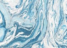 Mooie abstracte achtergrond Ongebruikelijk gemengd media art. Blauwe en witte verven stock fotografie