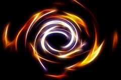 Mooie abstracte brandcirkel op een zwarte achtergrond Stock Afbeeldingen