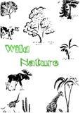 Mooie abstracte het wildillustratie met diverse bomen en zoogdieren stock illustratie