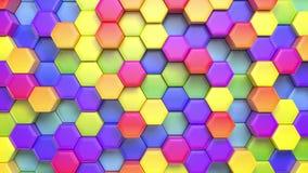 Mooie abstracte hexagonale multicolored achtergrond, naadloze het van een lus voorzien 3d animatie, 4k zoek meer opties in mijn stock illustratie