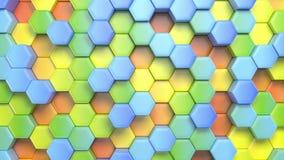 Mooie abstracte hexagonale multicolored achtergrond, naadloze het van een lus voorzien 3d animatie, 4k zoek meer opties in mijn vector illustratie