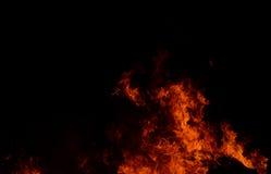Mooie abstracte vlam van brand op de zwarte achtergrond Royalty-vrije Stock Fotografie