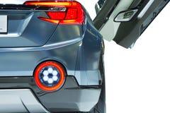 Mooie achter lichte autoclose-up op witte achtergrond stock afbeelding