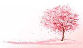 Mooie achtergrond met een roze bloeiende sakuraboom vector illustratie