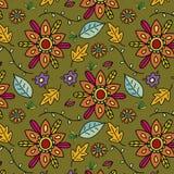 Mooie achtergrond met kleurrijke hand getrokken bloemen en bladeren royalty-vrije illustratie
