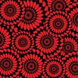 Mooie achtergrond met zwarte en rode abstracte bloemen Royalty-vrije Stock Foto