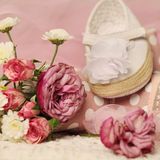 Mooie achtergrond voor de verjaardagskaart van het babymeisje Royalty-vrije Stock Foto