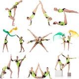 Mooie acrobaten in studio Reeks vele foto's Stock Foto