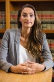 Mooie advocaat in de wetsbibliotheek Stock Foto's