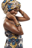 Mooie Afrikaanse mannequin in traditionele kleding. Stock Foto