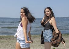 Mooie Amerasian-Tante met haar Amerasian-nicht die op Alki Beach, Seattle, Washington strutting royalty-vrije stock afbeeldingen