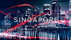 Mooie animatie met verschillende die stedennamen door rood, neongolven op zwart-wit cityscapes achtergrond worden omringd stock afbeelding