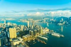 Mooie architectuur die buitencityscape van de stadshorizon van Hongkong bouwen royalty-vrije stock afbeelding