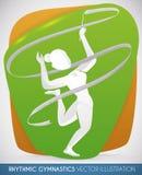 Mooie Atleet Practicing Rhythmic Gymnastics met het Lint, Vectorillustratie royalty-vrije illustratie