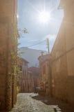 Mooie authentiek weinig straat in het oude historische dorp Valldemosa in Majorca Stock Foto's