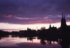 Mooie avond over de rivier van Oder Stock Foto